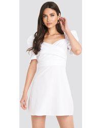 NA-KD Boho Puff Shoulder A-Line Dress - Weiß