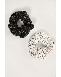 NA-KD 2-pack Tweed Scrunchies - Zwart