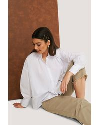 NA-KD White Gathered Neck Shirt