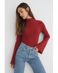 NA-KD Red Sleeve Slit High Neck Top