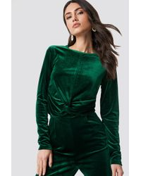 Rut&Circle - Knot Velvet Top Forest Green - Lyst