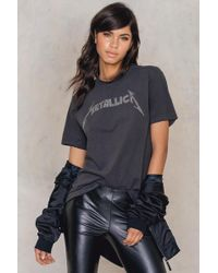 Amplified Metallica Logo Diamante T-shirt - Gray
