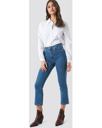 NA-KD Mid Rise Cropped Flared Jeans - Blauw