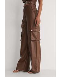 NA-KD Brown Wide Detail Pu Trousers