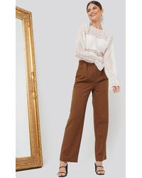 NA-KD Pleat Front Pants - Bruin