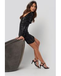 NA-KD Puff Shoulder Sequin Mini Dress Black
