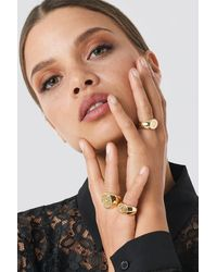 NA-KD Three Pack Chunky Signet Rings - Multicolore