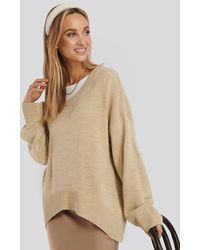 NA-KD Wool Blend Oversized Wide Neck Sweater - Natur