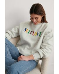 NA-KD Gray Self Love Embroidery Print Sweatshirt