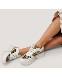 NA-KD Leopard Detailed Chunky Trainers - Wit