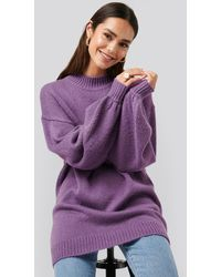 NA-KD Oversized Long knitted Sweater - Violet