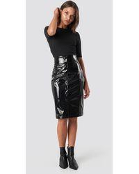 NA-KD Trend High Waist Vinyl Skirt - Schwarz