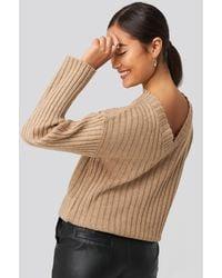 NA-KD Camilla Frederikke Open Back Knitted Sweater - Neutre