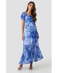 NA-KD Tie Dye Puff Sleeve Maxi Dress - Blau