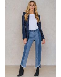 NA-KD Assymetric Hem Jeans - Blue