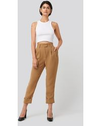 NA-KD Classic Folded Cigarette Suit Pants - Braun