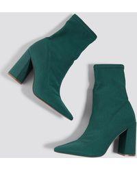 NA-KD - Slanted Heel Sock Boots Dark Green - Lyst