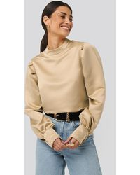 NA-KD Beige Oversized Puff Sleeve Blouse - Natural