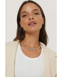 NA-KD Accessories Matte Sparkling Chain Necklace - Mettallic