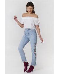 NA-KD Debiflue x Embroidered Ripped Bottom Jeans - Blau