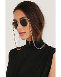 NA-KD Tortoise Sunglasses Chain - Metallic