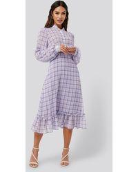 NA-KD Plaid Sheer Midi Dress - Paars