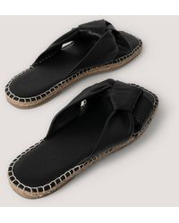 NA-KD Black Leather Knotted Slippers