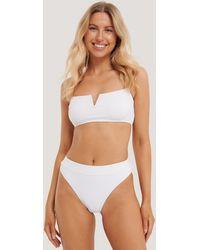 NA-KD - White Structured Highcut Bikini Panty - Lyst