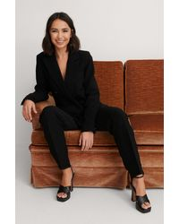 NA-KD Classic Structured Double Breasted Blazer - Schwarz
