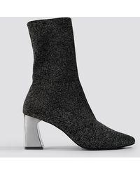 NA-KD Metallic Heel Glitter Sock Boots - Noir