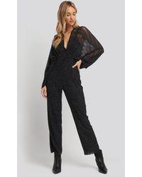 NA-KD Dolman Glittery Jumpsuit - Zwart
