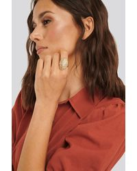 NA-KD Gold Lepeta Shell Ring - Metallic