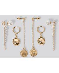 NA-KD Dropping Pearl Earrings - Blanc