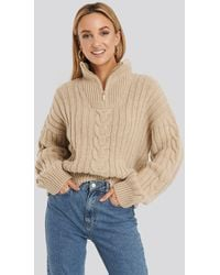 NA-KD Wool Blend Half Zip Cable Sweater - Natur
