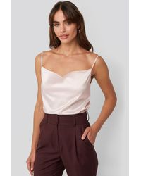 NA-KD - Party Cowl Neck Satin Cami Top - Lyst