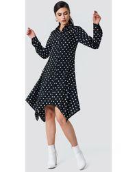NA-KD - Asymmetric Midi Shirt Dress Black/white Dots - Lyst