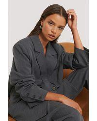 NA-KD Gray Oversized Double Breasted Blazer