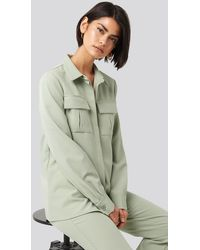 NA-KD Straight Fitted Overshirt - Groen