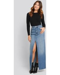 NA-KD Front Split Maxi Denim Skirt - Blauw
