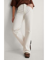 NA-KD Offwhite Relaxed Full Length Jeans - Multicolor