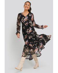 NA-KD Floral Mesh Dress - Zwart