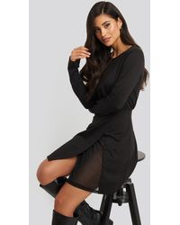 NA-KD Overlap Padded Shoulder Mini Dress - Zwart