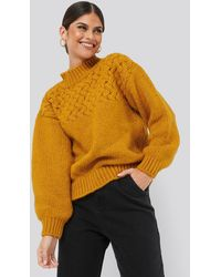 NA-KD Cable Detail Knitted Sweater - Oranje