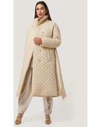 NA-KD Beige Quilted Long Jacket - Natural
