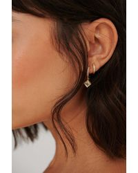 NA-KD Gold 2-pack 18k Gold Plated Pendant Hoops - Metallic