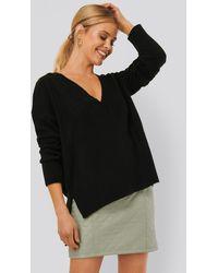 NA-KD Deep V-neck Oversized Sweater - Noir