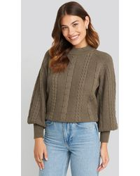 NA-KD - Balloon Sleeve Cable Knitted Sweater - Lyst