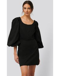 Glamorous Black Long Sleeve Corset Detail Mini Dress