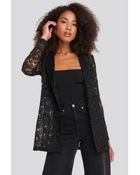 NA-KD Party Lace Double Breasted Blazer - Schwarz