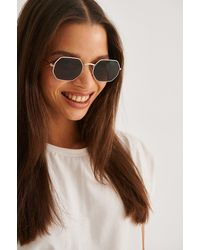 NA-KD Black Octagon Frame Sunglasses - Multicolour